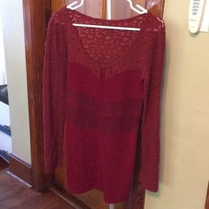 Free People Burgundy lace bodycon dress